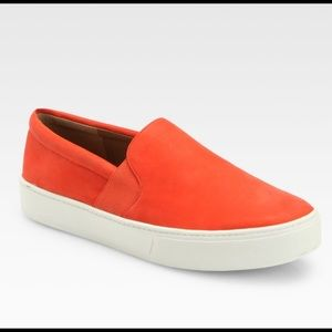 VINCE | orange red leather Blair slip on sneakers